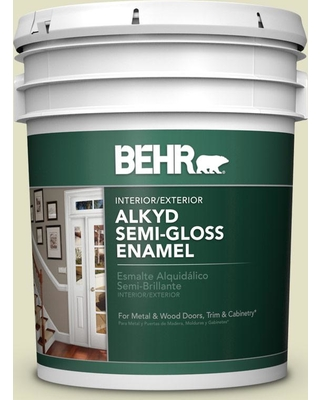 BEHR 5 gal. #S340-2 Green Power Urethane Alkyd Semi-Gloss Enamel Interior/Exterior Paint