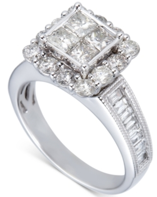 Diamond Princess Quad Cluster Engagement Ring (2 ct. t.w.) in 14k White Gold