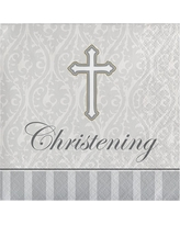 16ct Devotion Christening Cocktail Beverage Napkins