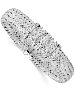 Sterling Silver Polished Cubic Zirconia Woven Cuff by Versil (Clear - White - 6.75 Inch)