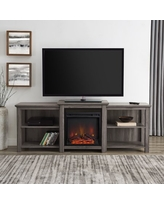 """Manor Park Tiered Fireplace TV Stand For TVs up to 78"""", Slate Grey"""