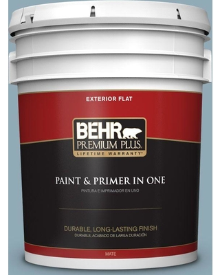 BEHR Premium Plus 5 gal. #530F-4 Newport Blue Flat Exterior Paint and Primer in One