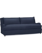 "Carlisle Slipcovered Sofa 80"" with Bench Cushion, Down Blend Wrapped Cushions, Twill Cadet Navy"
