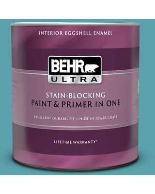 BEHR ULTRA 1 qt. #BIC-53 Turquoise Eggshell Enamel Interior Paint and Primer in One