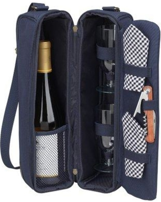 """Picnic at Ascot Classic Sunset Depinot Wine Carrier for Two in Navy in Blue, Size 14""""H X 8""""W X 3""""D   Wayfair 133-B"""