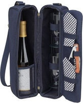 Picnic at Ascot Classic Sunset Depinot Wine Carrier for Two in Navy 133B-G