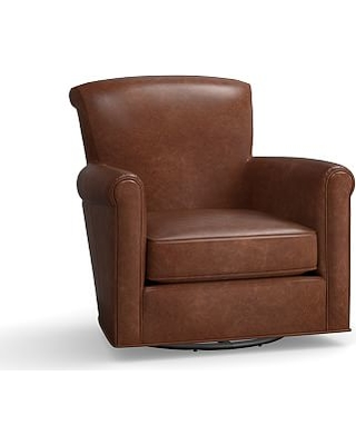 Irving Leather Swivel Glider, Polyester Wrapped Cushions, Statesville Indigo Blue