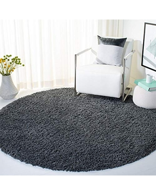 "Safavieh August Shag Collection AUG200H 1.5-inch Thick Area Rug, 6' 7"" Round, Charcoal"