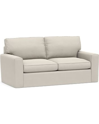 """Pearce Square Arm Slipcovered Grand Sofa 80"""", Down Blend Wrapped Cushions, Performance Everydaysuede(TM) Stone"""