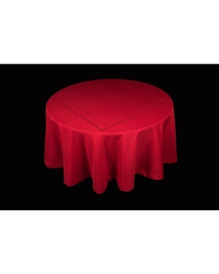 Handmade Double Hemstitch Easy Care Tablecloth, 70-Inch Round, Red (Off-White)