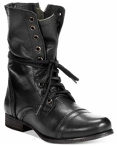 Steve Madden Women's Troopa Lace-up Combat Boots - Black Leather