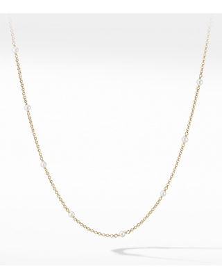 Women's David Yurman Cable Collectibles Bead & Chain Necklace In 18K Yellow Gold With Pearls
