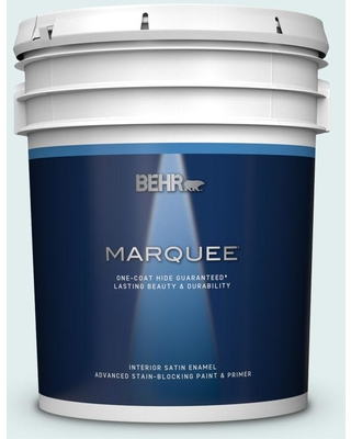 BEHR MARQUEE 5 gal. #530C-1 Club Soda Satin Enamel Interior Paint and Primer in One