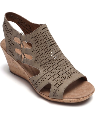 Women's Rockport Cobb Hill Janna Perforated Wedge Sandal, Size 6.5 W - Beige