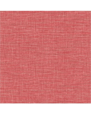 A-Street 56.4 sq. ft. Exhale Coral Faux Grasscloth Wallpaper, Pink