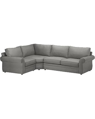 Pearce Roll Arm Upholstered Right Arm 3-Piece Wedge Sectional, Down Blend Wrapped Cushions, Basketweave Slub Charcoal