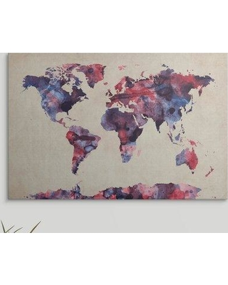 "Great Big Canvas 'World Map Watercolor Red and Blue' by Michael Tompsett Graphic Art Print 2075553_1 Size: 24"" H x 36"" W x 1.5"" D Format: Canvas"