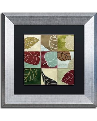 """Trademark Art 'Leaf Story III' by Color Bakery Framed Graphic Art ALI4303-S1 Size: 11"""" H x 11"""" W x 0.5"""" D Mat Color: Black"""
