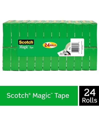 Scotch Magic Tape Refill, Invisible, Write On, Matte Finish, 3/4 x 27.77 yds, 1 Core, 24 Rolls (810 | Quill