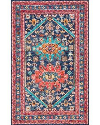 "World Menagerie Camborne Oriental Hand-Knotted Wool Aqua/Blue Area Rug NDDZ3229 Rug Size: Rectangle 7'6"" x 9'6"""