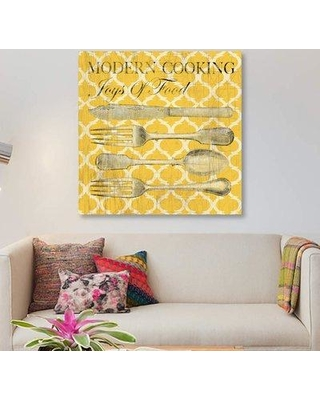 """East Urban Home 'Modern Cooking' Graphic Art Print on Canvas ETRB4426 Size: 26"""" H x 26"""" W x 1.5"""" D"""