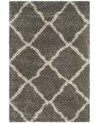 Safavieh Belize Denby Shag 4 x 6 Gray/Taupe Indoor Trellis Moroccan Area Rug in Brown   SGB489G-4