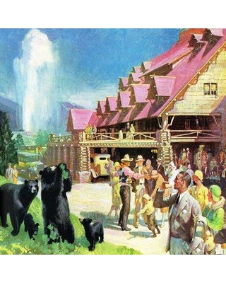 "Marmont Hill 'Yellowstone Inn' Painting Print on Wrapped Canvas MH-LDGCU-48-C- Size: 18"" H x 18"" W x 1.5"" D"