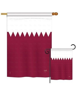 Breeze Decor Qatar of the World Nationality Impressions Decorative Vertical 2-Sided Polyester Flag Set BD-CY-S-108267-IP-BO-D-US15-BD