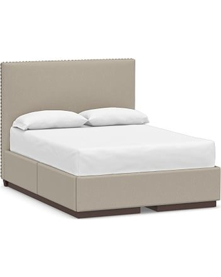 Raleigh Upholstered Square Tall Headboard and Side Storage Platform Bed, with Pewter Nailheads, California King, Performance Brushed Basketweave Sand