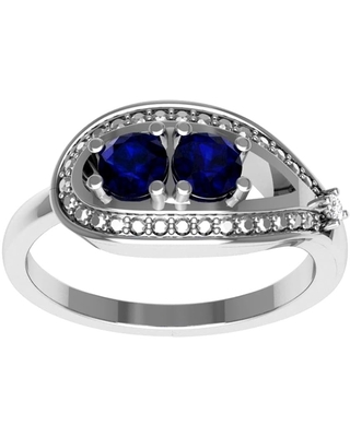 Sapphire, Diamond Sterling Silver Round Promise Ring by Essence Jewelry (9 - Sapphire)