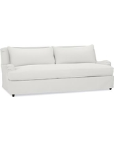"Carlisle Slipcovered Sofa 80"" with Bench Cushion, Down Blend Wrapped Cushions, Performance Everydaylinen(TM) by Crypton(R) Home Ivory"