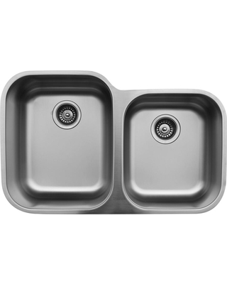 Karran Undermount Stainless Steel 32 in. Double Bowl Kitchen Sink, Soft brushed satin finish
