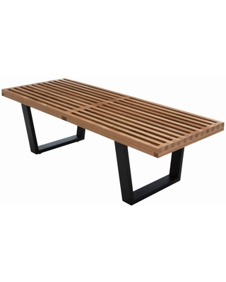 """Tao 48"""" Ash Wood and Black Wood Occasional Bench"""