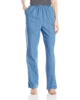 Chic Classic Collection Women's Cotton Pull-on Pant with Elastic Waist, Destruction Blue Denim, 10A