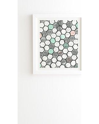 """East Urban Home Honeycomb Block Print by Dash and Ash Framed Graphic Art USSC3095 Size: 22.4"""" H x 19"""" W x 1"""" D Frame Color: White"""