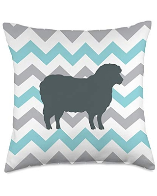 Sheep Gifts All co Sheep Mom Dad Teal Wave Cute Pet Gift Throw Pillow, 18x18, Multicolor