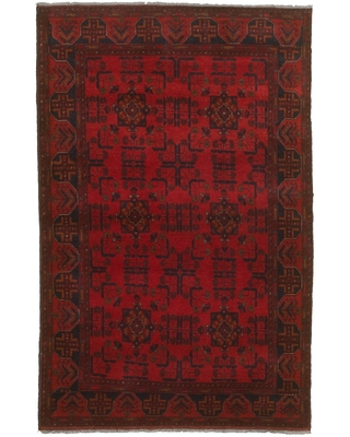 """Hand-knotted Finest Khal Mohammadi Red Wool Rug (Red - 4'2"""" x 6'6""""/4'2 x 6'6)"""