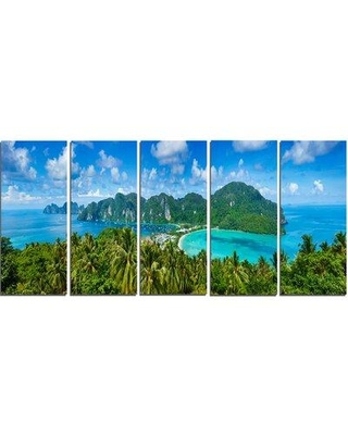 Design Art Tropical Island Panorama 5 Piece Photographic Print on Wrapped Canvas Set PT7082-401