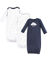 Hudson Baby Unisex Cotton Gowns, Navy Clouds, 0-6 Months
