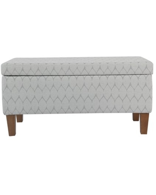 Saltoro Sherpi Geometric Patterned Fabric Upholstered Wooden Bench with Hinged Storage, Large, Gray and Brown