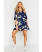 Womens Floral Frill Hem Wrap Dress - Navy - 12