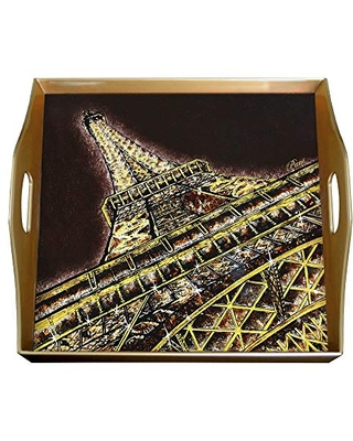 Storage ottoman - Eiffel Tower Paris Monument - Square Hand Painted Glass Tray with Gold Aluminium Frame