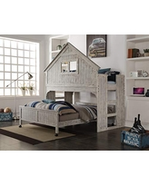 Donco Kids Club House Tall Loft Bed withCaster, Twin/Full, Brushed Driftwood