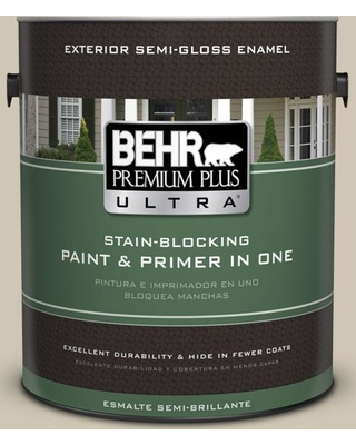 BEHR ULTRA 1 gal. #N310-3 Sandstorm Semi-Gloss Enamel Exterior Paint and Primer in One