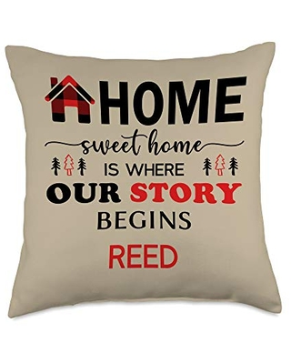 Reed Family Name Gifts Buffalo Plaid Home Decor Throw Pillow, 18x18, Multicolor