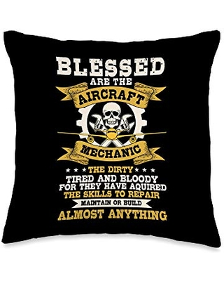 Airplane Mechanic Gift Blessed Tired Dirty Bloody Throw Pillow, 16x16, Multicolor