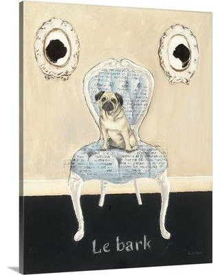 "Great Big Canvas 'Le Bark' by Emily Adams Graphic Art Print 1987515_1 Size: 48"" H x 38"" W x 1.5"" D Format: Canvas"