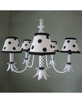 Silly Bear Lighting Dottie 5 - Light Shaded Classic / Traditional Chandelier BC78-BW-5A-483 / BC78-BW-5A-432 Shade: Black Dotty