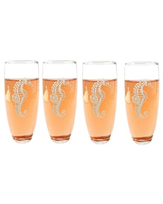 Seahorse Stemless Champagne Flutes Set of Four: Free Personalized Engraving