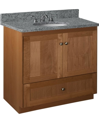 Simplicity by Strasser Shaker 36 in. W x 21 in. D x 34.5 in. H Vanity with No Side Drawers Cabinet Only in Medium Alder